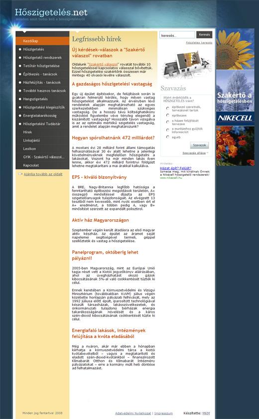 Hőszigetelés.net főoldala